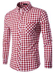 Men's Fashion Casual Fine Plaid Long-Sleeved Shirt