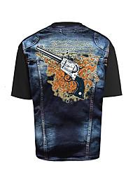 2017 внешнеторговых мужчин тройник 3d трехмерной печати персонализированного пистолет шаблон череп случайную короткие рукава футболка