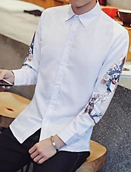 Men's Going out Casual/Daily Vintage Chinoiserie Shirt,Print Shirt Collar Long Sleeve Cotton