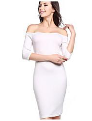 Chemise Robe Femme Soirée Sexy,Points Polka Epaules Dénudées Mini Manches Longues Fibre de bambou Toutes les Saisons Taille Haute