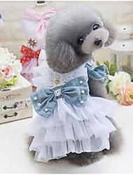 Chien Robe Vêtements pour Chien Mignon Décontracté / Quotidien Princesse Bleu de minuit Vert foncé