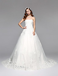 2017Lanting Bride® A-line Wedding Dress Open Back Floor-length Strapless Lace Tulle with Lace