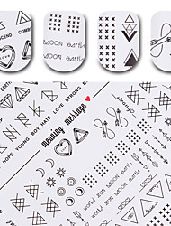 1 Sheet Meaning Message Water Decal Black Manicure Nail Art Transfer Sticker DIY Nail Decoration