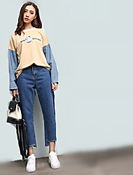 Sign retro chic South Korea Hong Kong flavor spell color tassel trousers do the old washing was thin jeans female