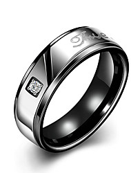 Concise Black Colour Titanium Steel Eternity Band Wedding Ring Jewellery for Women Accessiories