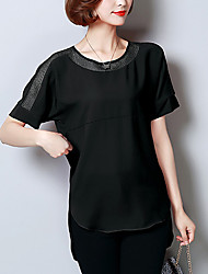 Women's Going out Work Simple Sophisticated Blouse,Solid Round Neck Short Sleeve Rayon Polyester