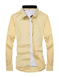 Для мужчин На каждый день Рубашка V-образный вырез,Простое Однотонный Длинный рукав,Искусственный шёлк