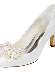 Women's Wedding Shoes Spring Fall Club Shoes Stretch Satin Wedding Party & Evening Stiletto Heel Crystal Pearl