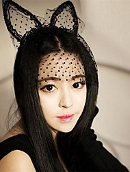 1Pcs  Fashion Women Girl Hair Bands Lace Cat  Ears Veil Black Eye Mask Halloween Party Headwear Hair Accessories
