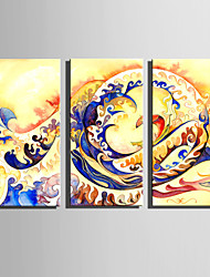 E-HOME Stretched Canvas Art The Surge Waves Decoration Painting Set Of 3