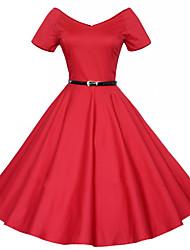 Aliexpress retro v-neck vestido de mangas curtas seção grande metros cinto com cinto colocar em um ponto de tutu grande