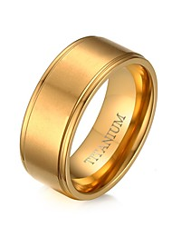 100% Titanium Ring for Men Gold Plated 8MM Wedding Rings Jewelry with Matte US Size 8 to 12