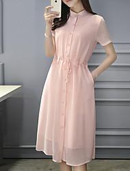 Feminino Camisa Vestido,Para Noite Casual Simples Sólido Colarinho Chinês Altura dos Joelhos Manga Curta Algodão PoliésterTodas as