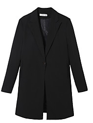 Women's Casual/Daily Work Simple Spring Blazer,Solid Shirt Collar Long Sleeve Long Polyester