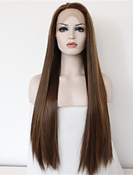 Good Quality Cheap Brown Wig Heat Resitant Synthetic Lace Front Wigs for Women Natural Long Brown Lace Wig with Highlights Free Shipping