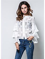 Zeichen Punkt Frühling und Sommer Lotus Ärmel runden Hals Spitze Trompete Ärmel Shirt drei Farbe in lange Ärmel Shirt