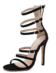 Damen-Sandalen-Kleid-Vlies-Stöckelabsatz-Gladiator-Gold Schwarz