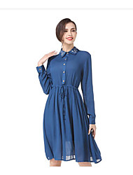 Women's Going out Casual/Daily Simple A Line Chiffon Dress,Solid Shirt Collar Knee-length Long Sleeve Cotton Linen Polyester SummerHigh