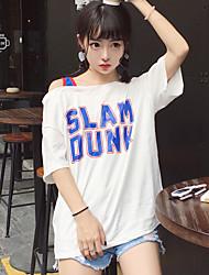 Real tiro rua estilo coreano letras bf sportswear oblíquo colisão cor longo seção de solta short-sleeved t-shirt