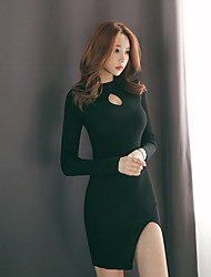 Korean version of the 2017 autumn new Slim thin long-sleeved knit thread half-empty high-necked dress women split ends