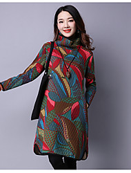 Women's Going out Simple Loose Dress,Floral Turtleneck Above Knee Long Sleeve Wool Spring Low Rise Micro-elastic Medium