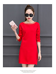Spring 2017 Korean version of the new female long-sleeved dress Korean version of Slim was thin and long sections package hip bottoming skirt