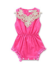 Baby Kids Going out Casual/Daily Beach Geometric Embroidered One-Pieces Cotton Girl Summer Sleeveless Jumpsuit Clothing