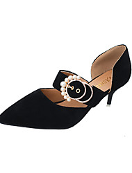 Women's Heels Club Shoes PU Spring Summer Casual Dress Club Shoes Rhinestone Imitation Pearl Buckle Low Heel Black Light Brown 1in-1 3/4in