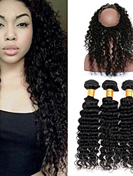 Vinsteen Wholesale Deep Wave Human Hair Wefts Bundles Peruvian8A Unprocessed Virgin Hair Extensions 3 Bundles Soft with 360 Lace Frontal Closure
