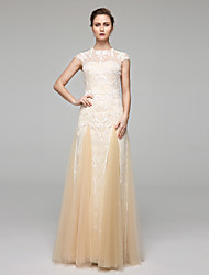 A-line Jewel Floor Length Chiffon Lace Wedding Dress with Appliques Draped by LAN TING BRIDE®
