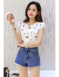 Qing payment model stars in the long section was thin cotton 2016 summer five-pointed star printed short-sleeved t-shirt
