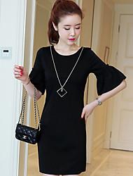 2017 novas mulheres de grande porte suburbano maré em torno do pescoço de verão coreano de mangas curtas vestido de gordura mm