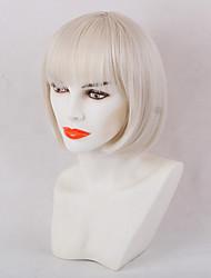 Bangs lindo off-white bobo cabelo peruca sintética