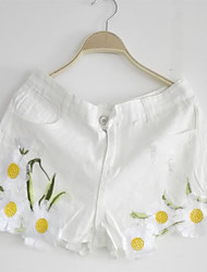 Women's Embroidered White Jeans / Shorts Pants,Cute