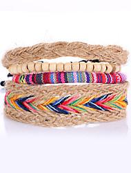 4pcs/set Punk Men's Bracelet Colorful PU Leather Bracelet Adjustable Beads Multilayer for Men Fashion Jewelry