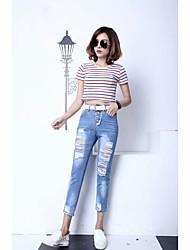 Korean version of the new spring student burr hole jeans female trousers nine feet pants large size black pencil pants