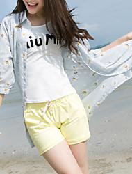 Sinal 17 anos verão novo protetor solar chiffon camisa impressão longa seção de pequena daisy chiffon cardigan