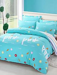 Set of 4 Pieces Cotton Bedding Quilt 200*230 Bed Sheet 230*250 Pillowcase 48*74
