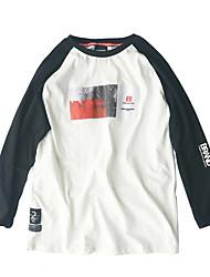 Damen Einfarbig Niedlich Lässig/Alltäglich T-shirt,Rundhalsausschnitt Langarm Baumwolle