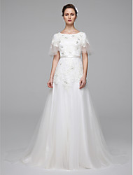 A-Line Jewel Neck Sweep / Brush Train Lace Wedding Dress with Beading Sash / Ribbon by LAN TING BRIDE®