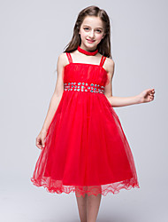 Ball Gown Knee-length Flower Girl Dress - Chiffon Cotton Satin Tulle Sleeveless Spaghetti Straps withBow(s) Crystal Detailing Draping