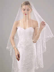 Wedding Veil One-tier Chapel Veils Lace Applique Edge Organza