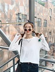 Подписать весной новой корейской версии конфеты цвета тонких моделей диких свободный сплошной цвет шею с длинными рукавами тройник