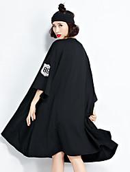 tiro real na Europa e América cartas impressa longa seção t grande saia swing uma linha de vestido XL em torno do pescoço vestido de manga