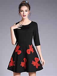 Women's Plus Size Vintage Ethnic A Line Sheath Skater Dress Bead Tassel Embroidered 1/2 Sleeve