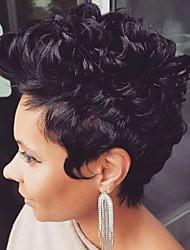 MAYSU Prevailing  Short Black Curly Hair Human Hair Capless Wigs Mature lady