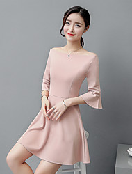 Sign 2017 new Korean fashion Slim nude pink lotus sleeve shoulder collar strapless dress