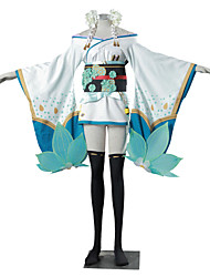 Inspired by Overwatch D.Va Video Game Cosplay Costumes Cosplay Suits Kimono Color Block Jacquard White Blue GreenKimono Coat Yukata Skirt