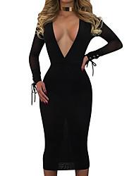 Women's Club Sexy Bodycon Dress,Solid Deep V Midi Long Sleeve Cotton Summer Mid Rise Inelastic Medium