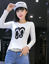Real shot in spring 2017 Korean yards Women Slim sequined white round neck long-sleeved T-shirt compassionate woman
